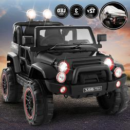 12V Battery Kids Ride on Truck Car Toys MP3 LED Lights w/RC