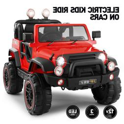 12V Red Electric Kids Ride on Car Truck Toy 3Speeds MP3 LED