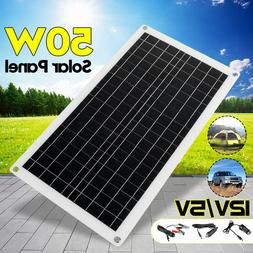 15-50W 5V/12V USB Waterproof Battery Solar Panel Home For Ph