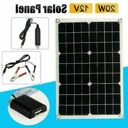 20W 12V 5V DC Waterproof Battery Solar Panel USB Home For Ph