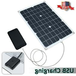 20W 12V/5V DC Waterproof Battery Solar Panel USB Home Phone