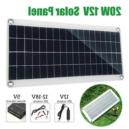 20W 12V/5V USB DC Solar Panel Battery Solar Powered 3A W/ Ca