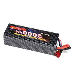 Fconegy 2S 7.4V 5000mAh 40C Lipo Battery Pack hardcase with