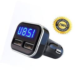 Jebsens 4.8A 24W Dual USB Car Charger Volt Meter Car Battery