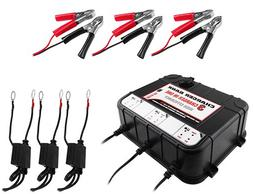 6/12V 2A 3 BAY Smart Charger w/USB Ports for Boat Lawn Tract