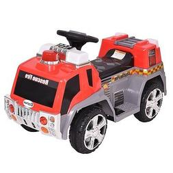 6 V Electric Kids Ride On Rescue Fire Truck Car Red Color US