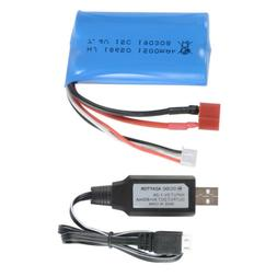 7.4V 1500mAh 18650 Battery + USB Charger for WLtoys 12428 RC