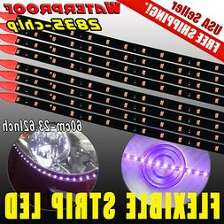 "8X 60CM/24"" Car Motorcycle 2835 LED Lights Flexible Strip Pu"