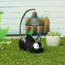 Black Cat Night Lamp Button Battery Artificial Painting Tabl