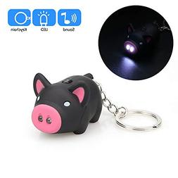 Hisoul Cartoon Pig Keychain - Mini Flashing LED and Realisti
