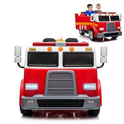 Fire Truck Electric Ride On Car 2 Seats with Remote Control