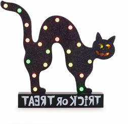 Halloween Battery Operated Black Cat Color Changing Lighted