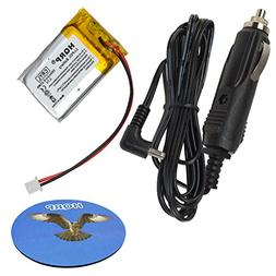 HQRP Kit Battery and Car Charger for VXI Blue Parrott 203664