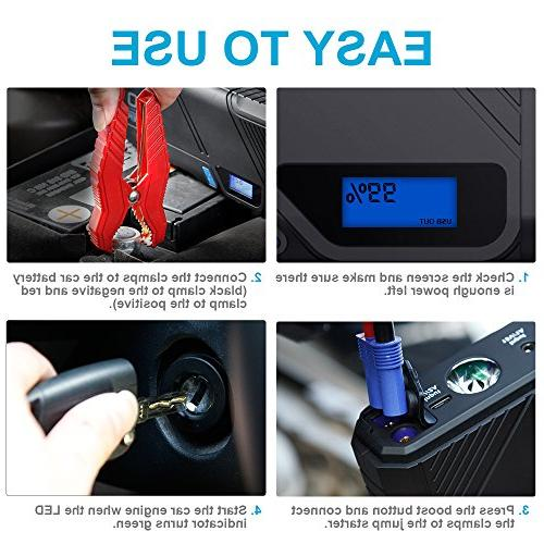 DBPOWER 1200A Peak Car Starter , Car Battery & Charger, Charger QC3.0 LED Emergency