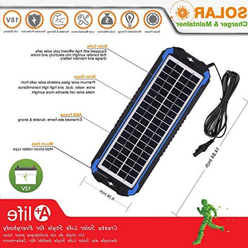 SUNER POWER 12V Car Charger Maintainer Solar Panel Trickle Kit for Boat, Powersports, etc.