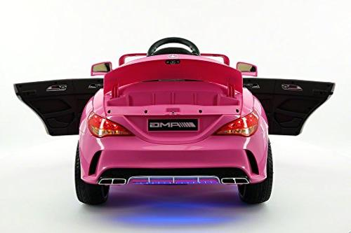2018 Mercedes Kids Ride-ON Toy, Leather, Player, 12V LED Wheels, LED Removable Table with Pink