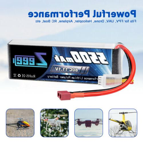 2x 80C 3S 11.1V Deans Battery for RC Helicopter Car