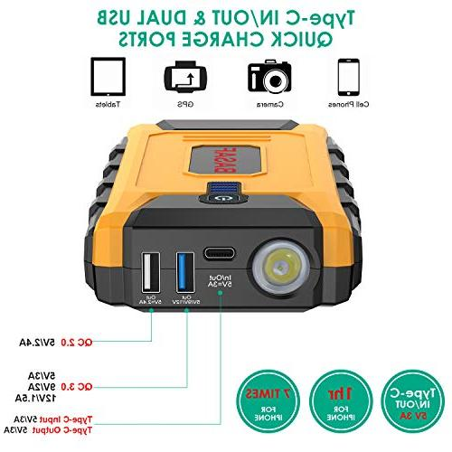 BASAF Car Jump 1200A Peak,12V Portable Pack , Type-C In/Out and USB