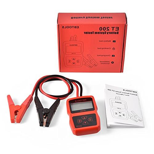 EBTOOLS Car Tester 12V CCA Battery Digital Analyzer Cranking Test,Charging Test,Battery Load Tool for Car/Boat/Motorcycle/SUV/ATV
