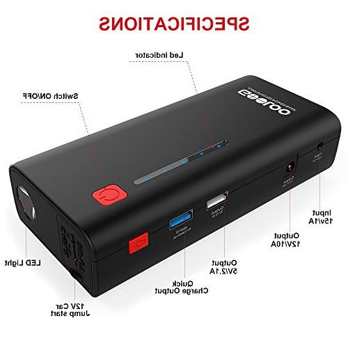 GOOLOO 800A Peak 18000mAh with Charge 3.0 12V Power Booster LED Light