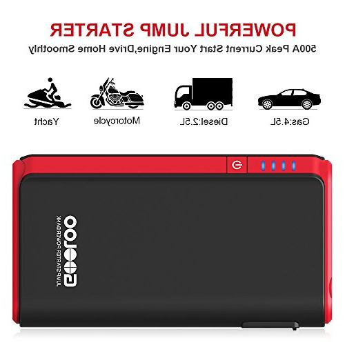 GOOLOO & 500A SuperSafe Power Pack Battery Booster Charger, Built-in LED Light, Black/Red