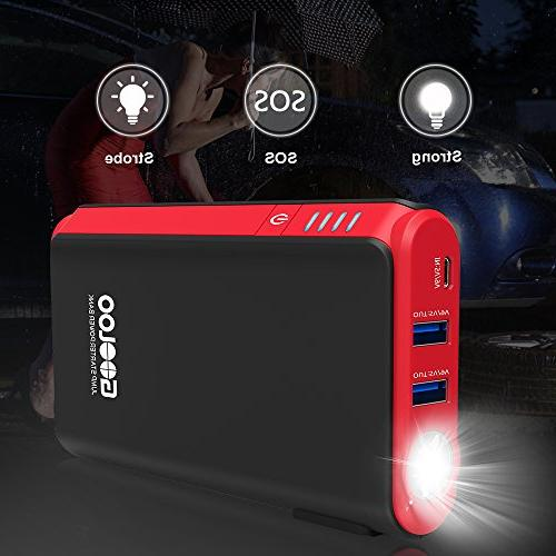 GOOLOO in & SuperSafe Car Jump Power Pack Battery Portable Charger, Built-in Black/Red