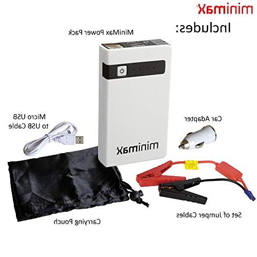 MiniMax Power 7800mAh Starter, Battery Phone Charger, Battery USB 13v AC/DC Cables