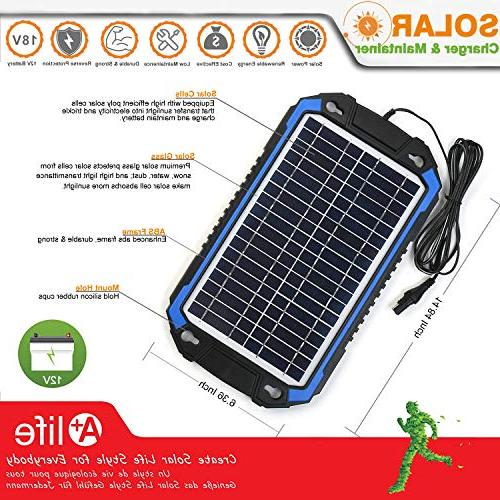 SUNER Solar Car Battery Charger Maintainer Solar Panel Trickle Charging Kit Boat, Marine, RV, Trailer, Powersports, Snowmobile, etc.