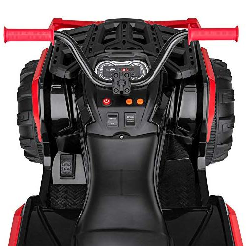 Best Choice Kids Battery Powered Electric Rugged ATV Ride-On Car w/ Reverse Treaded LED Radio - Red