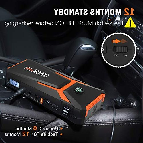 TACKLIFE T8 Car Starter - 18000mAh, Auto Battery Pack with Cables, LCD &