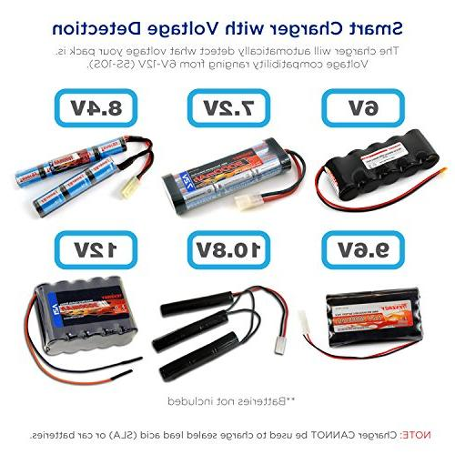 Charger for NiMH/NiCd 6V-12V Battery for RC Batteries, Compatible Size Tamiya/Alligator Connectors 01025