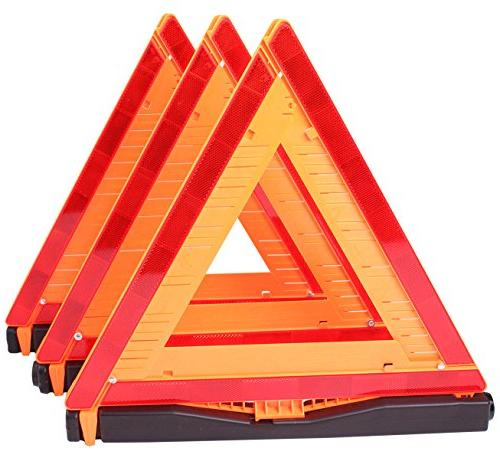 CARTMAN Warning Approved 3PK, Identical To: United States FMVSS 571.125, Reflective Warning Triangle Kit