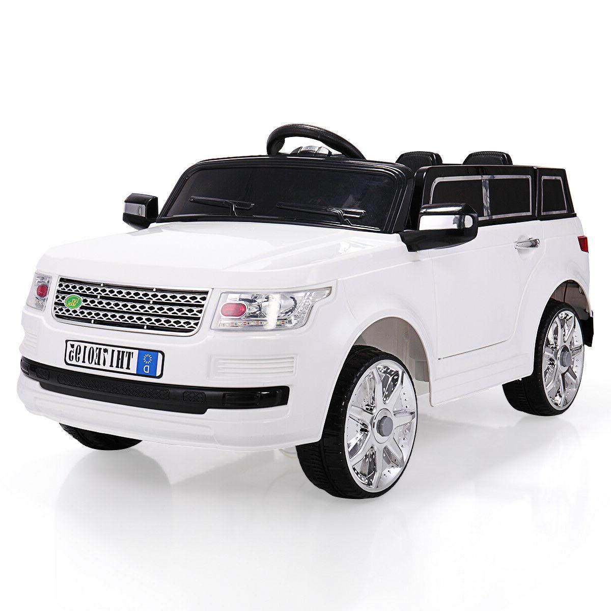 white 12v kids ride on car w