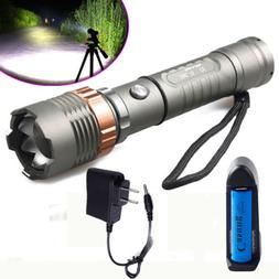 Tactical LED Flashlight Rechargeable Hiking T6 Torch+18650 B