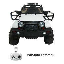 White Kids Ride on Truck Car Remote Control 12V Battery LED